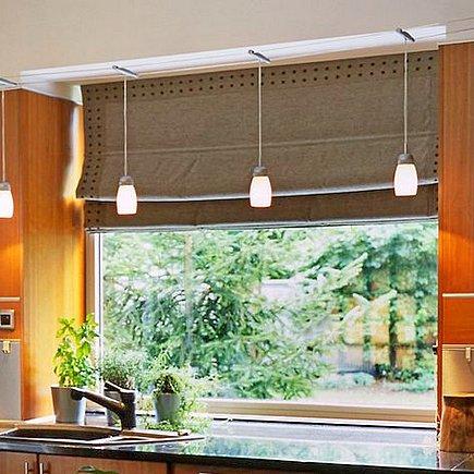 Римские шторы для кухне из бамбука