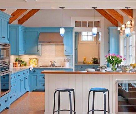 Сочетание цветов в интерьере кухни – холодные цвета