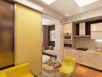 Сочетание цветов в интерьере кухни - на арене желтый