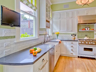 Сочетание цветов в интерьере кухни - зеленый