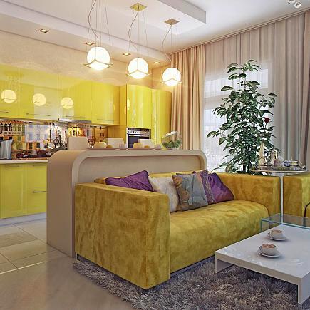 Подбор мебели под интерьер гостиной совмещенной с кухней
