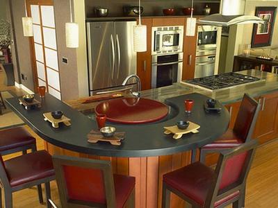 Угловые кухни с барной стойкой - U-образная стойка