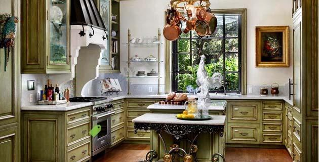 Кухни классика в оливковом цвете