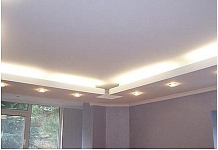Монтаж двухуровневых потолков из гипсокартона – дизайн зала