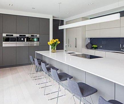 Однотонное сочетание цветов в интерьере кухни