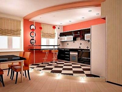 Гостиная совмещенная с кухней – подиум для разделения зон