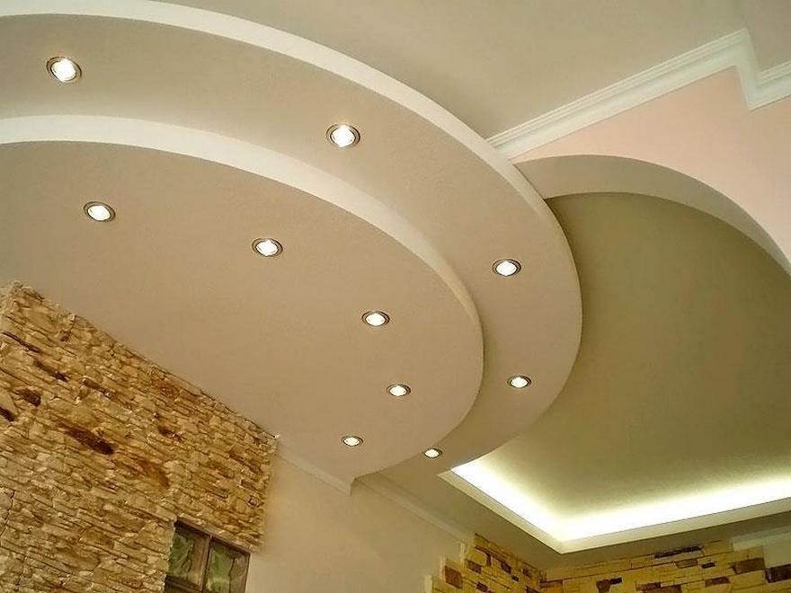 Монтаж двухуровневых потолков из гипсокартона фото