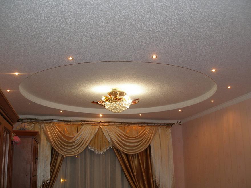 Монтаж двухуровневых потолков из гипсокартона результат