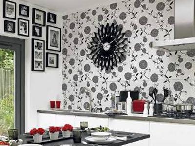 Моющиеся обои для кухни в черно-белых тонах